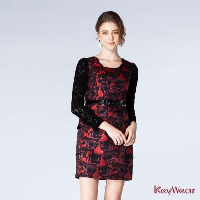 KeyWear奇威名品    精緻手工縫珠拼接蕾絲袖洋裝-暗紅色