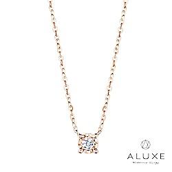 A-LUXE 亞立詩 18K金 0.04克拉雙倍顯鑽鑽石項鍊_玫瑰金