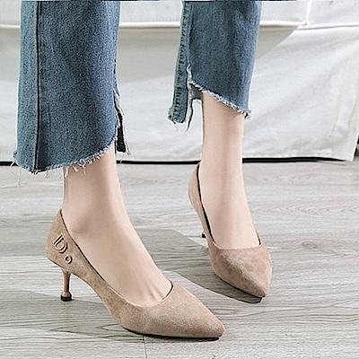 KEITH-WILL時尚鞋館 歐洲款純淨簡約細跟鞋-卡其色
