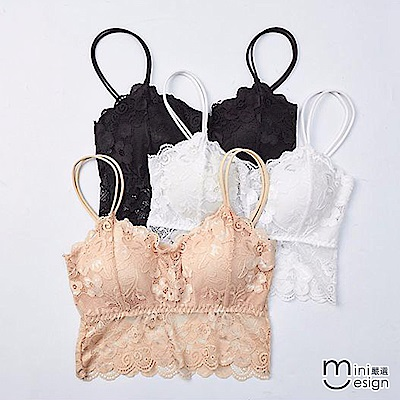 雙肩帶蕾絲罩杯式小可愛 三色-mini嚴選