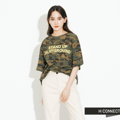 H:CONNECT 韓國品牌 女裝-迷彩印字圓領T-Shirt-綠