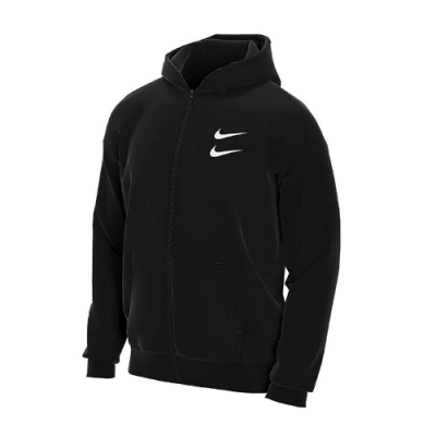 Nike 外套 Swoosh Hoodie FZ FT 男款 NSW 運動休閒 連帽外套 基本款 保暖 黑 白 CU3927010