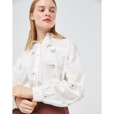 CACO-維尼滿版印花襯衫(兩色)-女【VDI027】