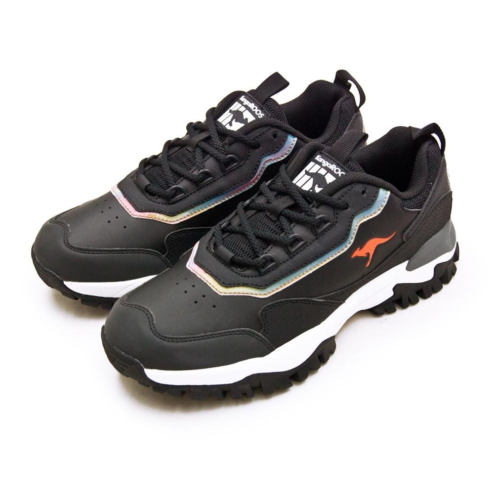 KangaROOS 經典撞色復古越野慢跑鞋 NEON藍標老爹鞋系列 黑幻彩 91170