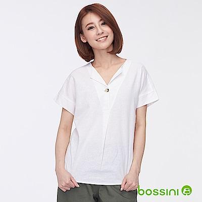 bossini女裝-棉麻開襟短袖罩衫01灰白