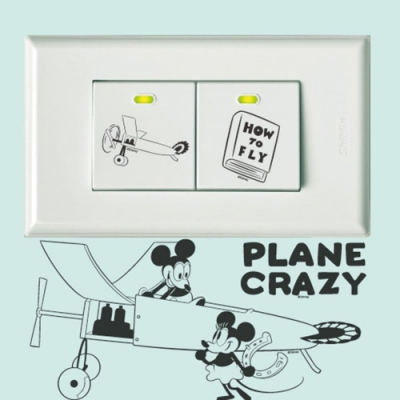 itaste小品味 BID110 經典米奇系列開關壁貼-飛機迷