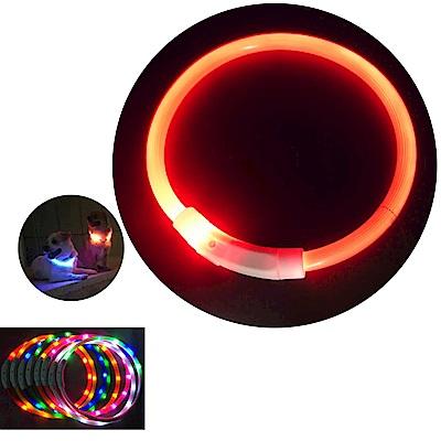 摩達客 LED寵物發光項圈(USB充電式 / 圓周50CM長/橘色光纖款)