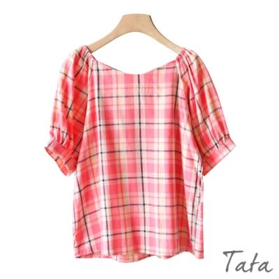 寬V領甜美格紋上衣 共二色 TATA-(S~L)