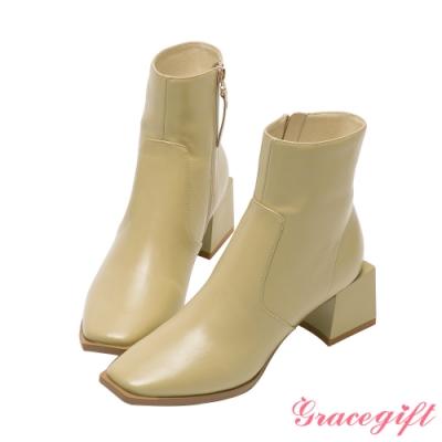 Grace gift X玄玄-聯名La La Land方形中跟短靴 黃綠