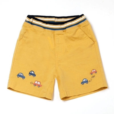 PIPPY小汽車刺繡短褲-黃