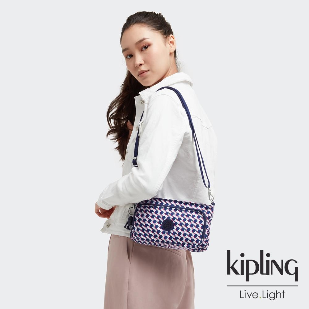 Kipling 典雅幾何印花前袋拉鍊長形肩背包-MYRTE