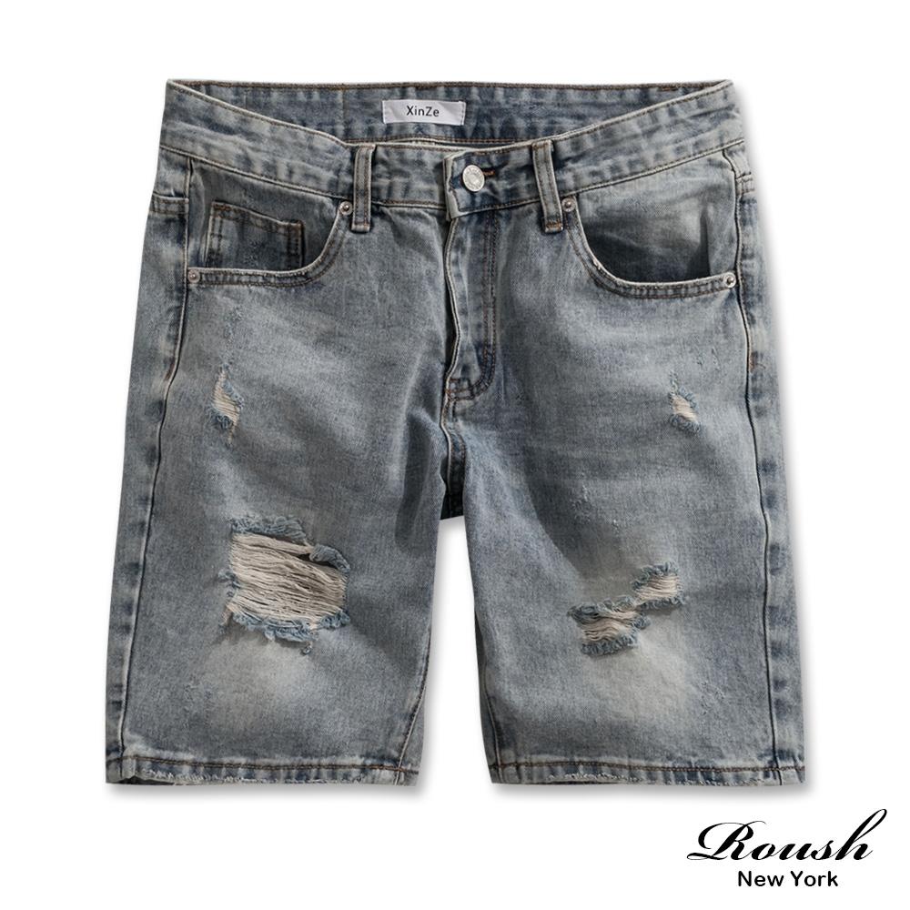 Roush 經典破壞感水洗牛仔短褲