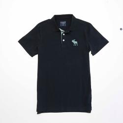 A&F 男款麋鹿刺繡短袖POLO衫0737-900(黑-M)