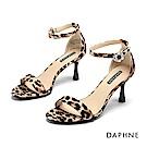 達芙妮DAPHNE 涼鞋-動物紋印花質感絨面高跟涼鞋-棕色