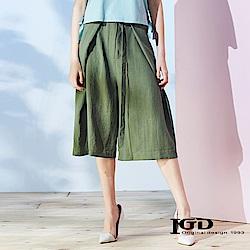 IGD英格麗 立體活褶剪裁腰繫帶寬褲-綠