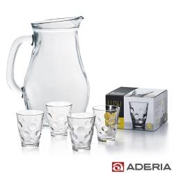ADERIA 日本進口把手玻璃水瓶1L贈日本進口玻璃酒杯四件套組315ML(圓點款)
