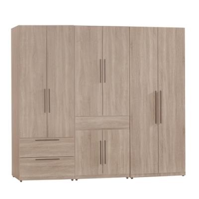 【AT HOME】日式簡約7尺淺灰橡木紋二抽+掀鏡+雙吊衣櫃/收納櫃(凱文)