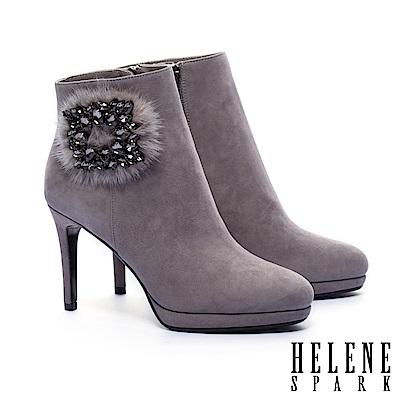 短靴 HELENE SPARK 奢華時髦水貂毛方鑽釦全真皮美型高跟短靴-灰