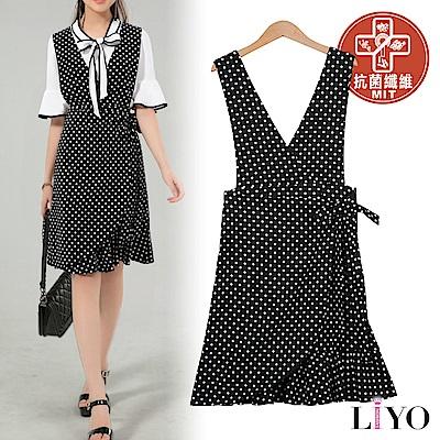 洋裝MIT抗菌除臭背心黑白點點洋裝OL綁帶魚尾連身裙LIYO理優-專利系列