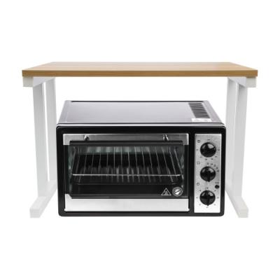 微波爐烤箱收納架-白架淺胡桃