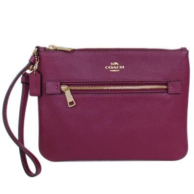 COACH葡萄紫防刮全皮方扁B5尺寸手拿包