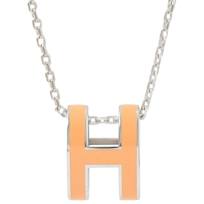 HERMES H POP款LOGO圓弧型項鍊(銀/柑橘)