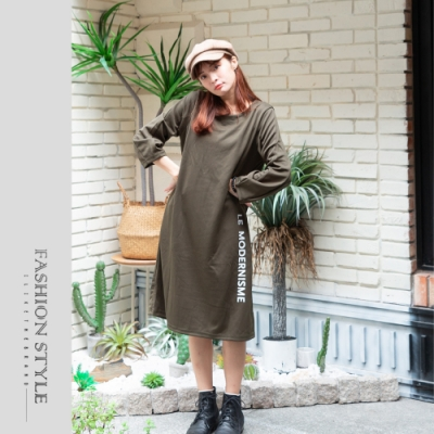 2F韓衣-簡約圓領素色MIT文字印花洋裝-軍綠色(F)