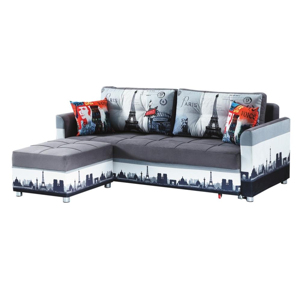 綠活居 馬斯垂克   現代雙色亞麻布L型沙發/沙發床(二色可選)-217x169x76cm免組