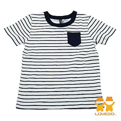 【LOVEDO-艾唯多童裝】簡易時尚 條紋短袖T恤 (白)