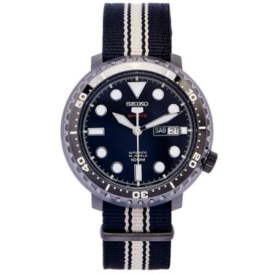 SEIKO 黑色時尚風帆布錶帶機械錶(SRPC67K1)-黑面/45mm