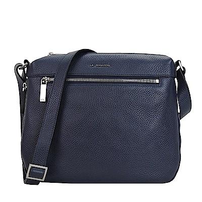 LA BAGAGERIE FAUB前拉鍊口袋增寬皮革斜背包(深藍)