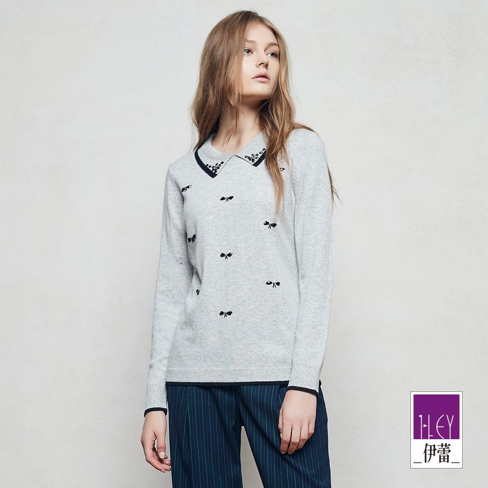 ILEY伊蕾 簡約優雅珠飾質感毛衣(灰)
