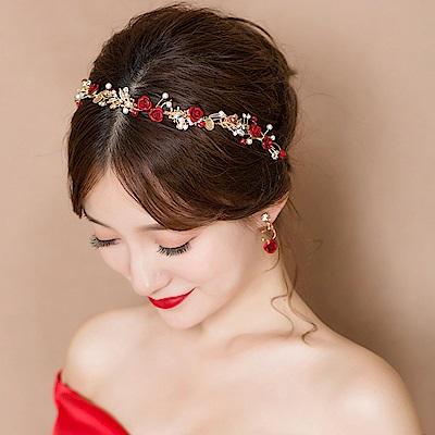 Hera 赫拉 愛的宣言紅玫瑰鑲鑽扭珠新娘飾品-玫瑰髮飾