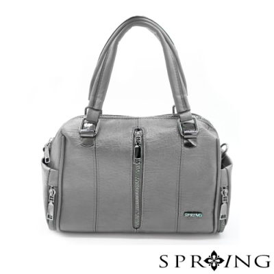 SPRING - 個性大拉鍊皮革手提包 -優雅灰