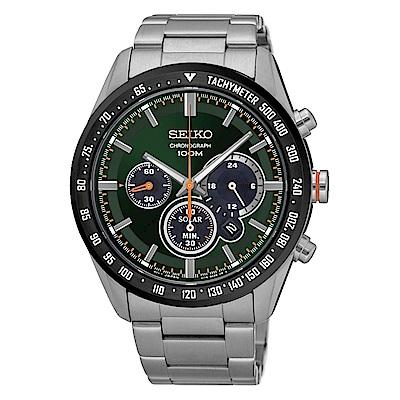 SEIKO 精工 三眼計時太陽能運動腕錶/V175-0DK0M/SSC469P1
