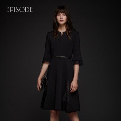 EPISODE - 圓領修身蕾絲花邊A型五分袖洋裝(黑)