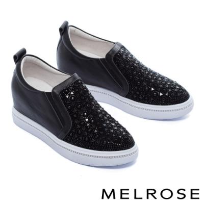休閒鞋 MELROSE 時尚閃耀晶鑽全真皮內增高厚底休閒鞋-黑