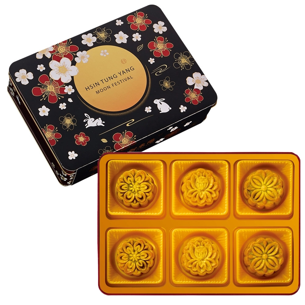 新東陽 中秋禮盒 廣式無糖月餅禮盒(6入/盒)(白玉蓮蓉 椒鹽黑芝麻 豆沙)