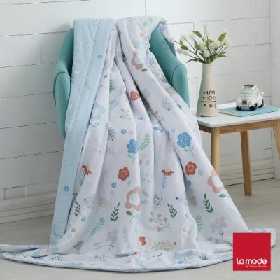 La mode寢飾 花間小球環保印染100%精梳純棉涼被(單人)