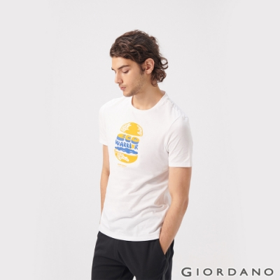 GIORDANO 男裝DEAR WORLD系列印花T恤-51 標誌白