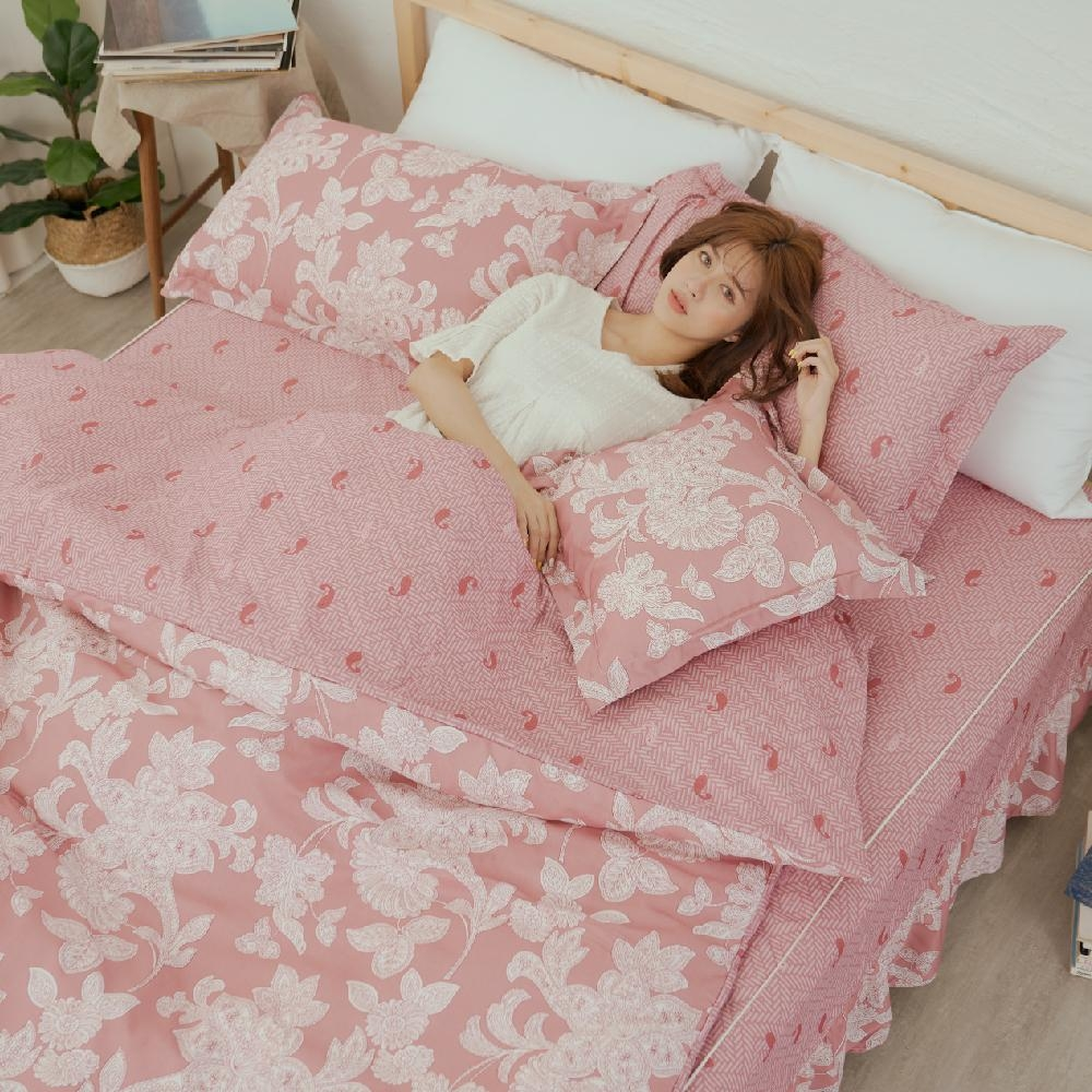 BUHO TENCEL天絲雙人加大五件式舖棉兩用被床罩組(幻花之戀-粉)