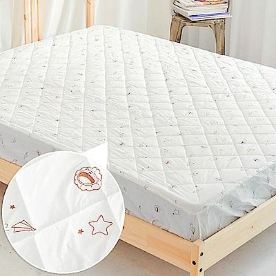 奶油獅-星空飛行-台灣製造-美國抗菌防污鋪棉保潔墊床包-雙人加大6尺-米