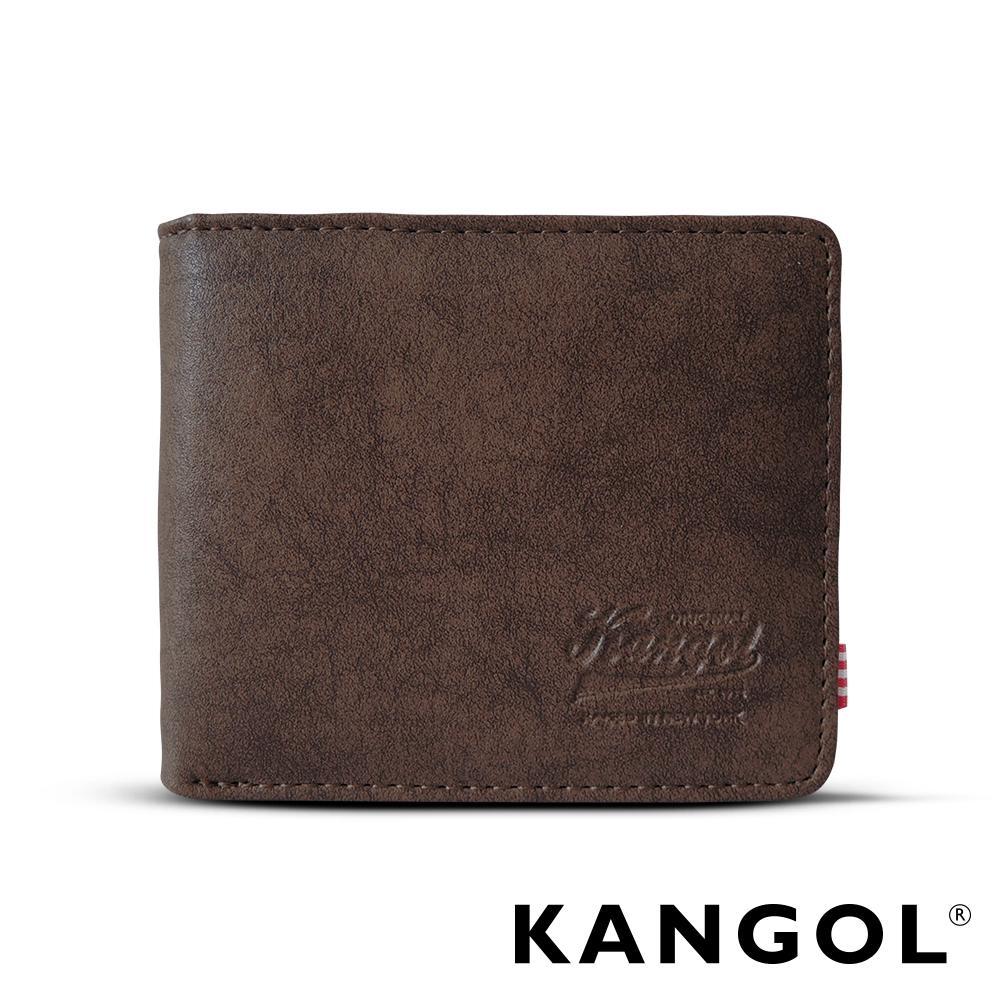 福利品 KANGOL 韓式潮流橫式短皮夾+鑰匙圈禮盒-皮紋褐