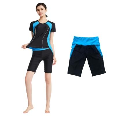 Biki比基尼妮泳衣,基礎保守單五分褲單泳褲有加大M-4XL(單五分泳褲)