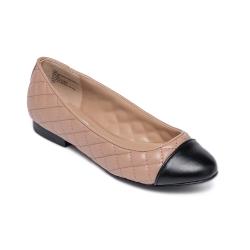 拼接菱格紋皮質平底女鞋