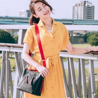 【Maria Carla】個性撞色水桶包_漆黑_都會時尚系列