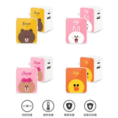 GARMMA LINE Friends Type-C & USB雙孔充電器