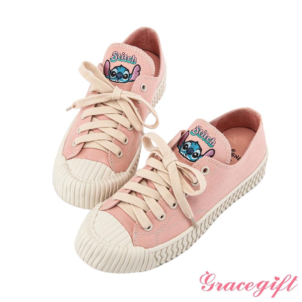 Disney collection by gracegift-迪士尼史迪奇帆布餅乾鞋 粉
