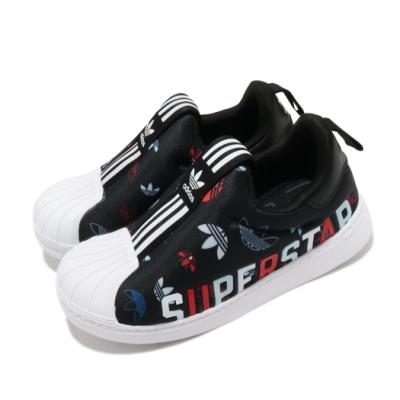 adidas 休閒鞋 Superstar 360 童鞋 愛迪達 三葉草 貝殼頭 無鞋帶 小童 黑 白 FW0710
