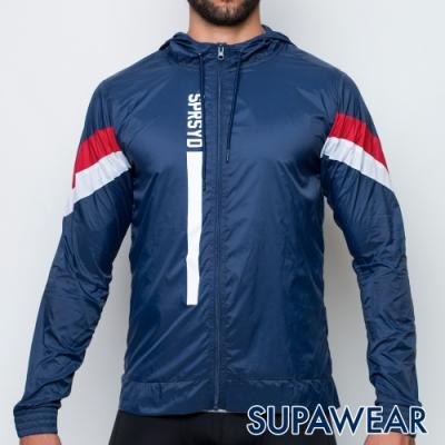 SUPAWEAR 輕便型連帽風衣外套(海藍色)